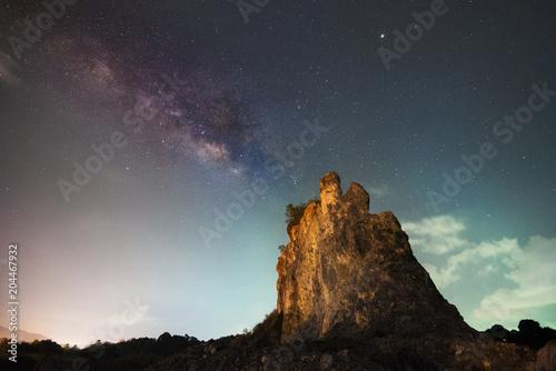 Fototapeta Milky Way above on Rock mountain in Chanthaburi Province