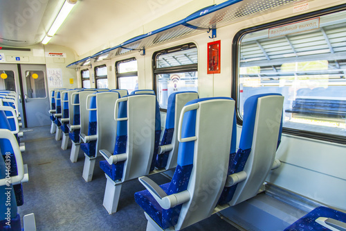 Plexiglas Moskou MOSCOW, RUSSIA, on MAY 10, 2018. Interior of a coach of the modern local train