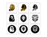 lion head silhouette image vector icon set - 204473791