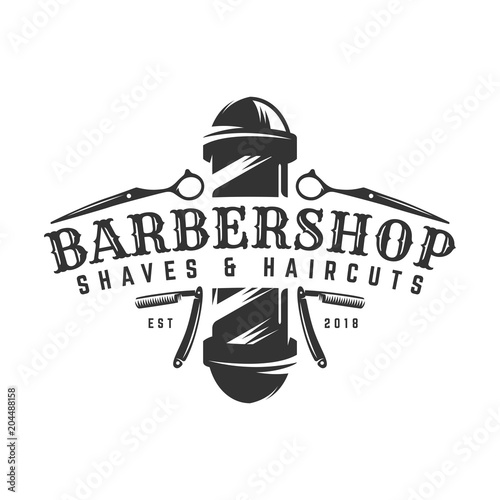 Barbershop vintage Logo template on isolated white background