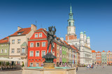 Orpheus statue and Town Hall on old market square, Poznan, Poland.