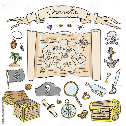 Pirate Map And Treasure Hand Drawn Illustrations Cute Set With