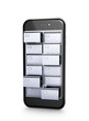 Data store. File cabinets inside the screen of a mobile phone. 3d illustration