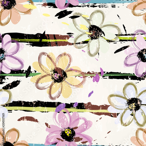 Fotobehang Abstract met Penseelstreken seamless flower pattern background, with strokes and splashes