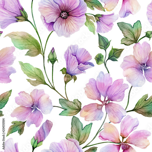 Beautiful lavatera flowers with green leaves against white background. Seamless floral pattern. Watercolor painting. Hand painted illustration. © katiko2016