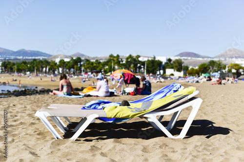 Canvas Canarische Eilanden Playa de Matagorda beach in Lanzarote, Spain