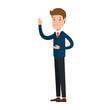businessman sad avatar character vector illustration design
