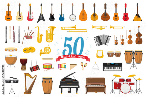 Fototapeta Vector illustration set of 50 musical instruments in cartoon style isolated on white background