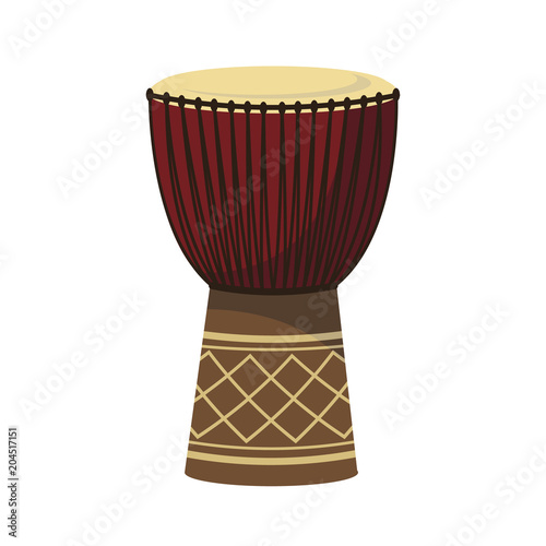 Fototapeta Vector illustration of a djembe in cartoon style isolated on white background