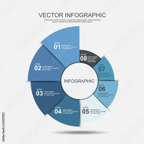 Info Graphic Design Template 8 Steps Pie Chart And Business Concept