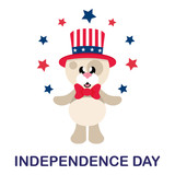 4 july cartoon cute dog in hat with stars and text