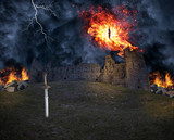 A burning demon eye flying over a castle ruin in a stormy night, a knight sword is sticking to the ground. Shot was taken in Vintebbio, an abandoned medieval ruin, it is accessible through a footpath