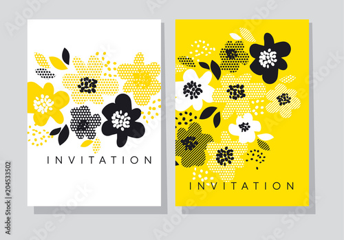 Floral abstract card template.