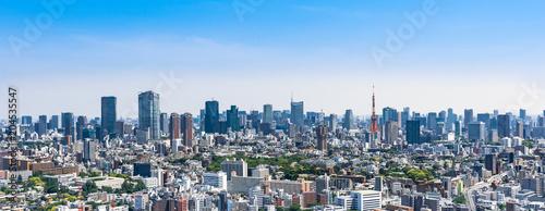 Plexiglas Tokio 東京 青空と都市風景 ワイド