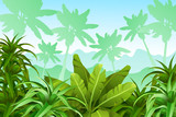 Tropical jungle background. Stylized plants and leaves. Vector illustration.