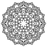 Ornamental round doodle flower isolated on white background. Black outline mandala, frame. Geometric circle element. Vector illustration. - 204537745