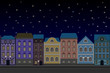 Houses at night. Old european city street with colored buildings. Flat style