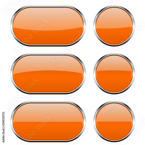 Przyciski ze szkła pomarańczowego z chromowaną ramą. 3d ikony