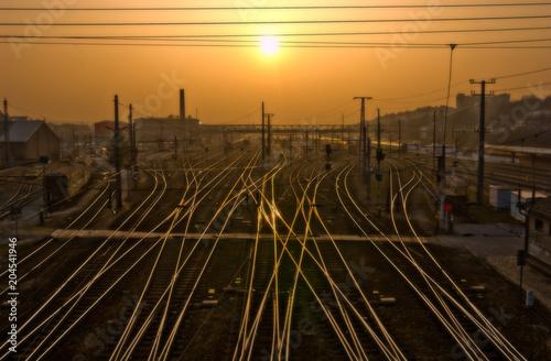 Fotobehang Chocoladebruin rails, railway, austria