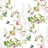 Watercolor painting of leaf and flowers, seamless pattern on white background - 204545535