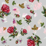 Watercolor painting of leaf and flowers, seamless pattern on gray background - 204545550