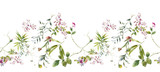 Watercolor painting of leaf and flowers, seamless pattern on white background - 204545552