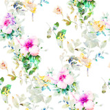 Watercolor painting of leaf and flowers, seamless pattern on white background - 204545556
