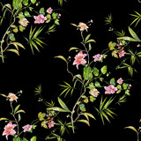 Watercolor painting of leaf and flowers, seamless pattern on dark background - 204545557