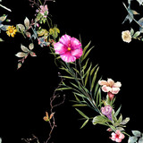 Watercolor painting of leaf and flowers, seamless pattern on dark background - 204545576