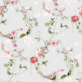 Watercolor painting of leaf and flowers, seamless pattern on gray background - 204545578