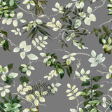 Watercolor painting of leaf, seamless pattern on dark background - 204545589