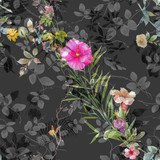 Watercolor painting of leaf and flowers, seamless pattern on dark background - 204545982