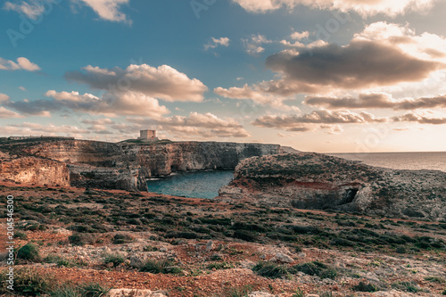 Canvas Zalm Comino Island in Malta on December 2017. Blue Lagoon