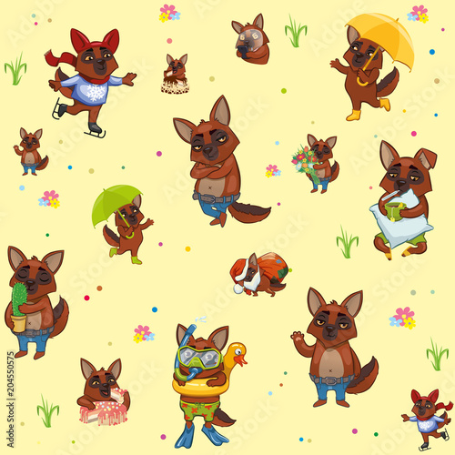 Fototapeta baby seamless Wallpaper. cartoon active dogs. wrapping paper
