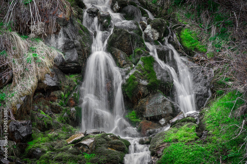 mountain waterfall in summer, green plants, a river in the jungle