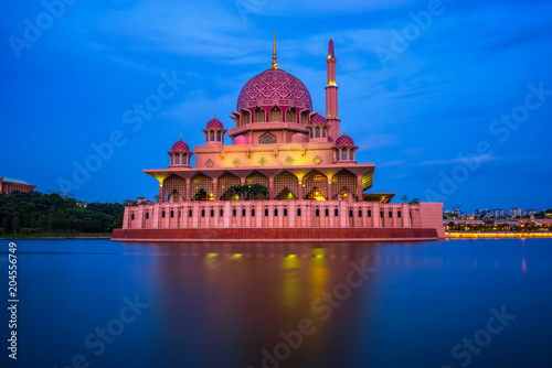 Putra Mosque and Putrajaya Lake in Malaysia at night