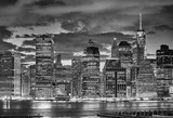 Black and white picture of Manhattan skyline at night, New York City, USA. © MaciejBledowski