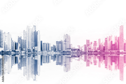 modern skyline abstract style skyscraper buildings on white background - - 204560387