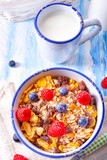 muesli breakfast menu with forest fruits - 204563173