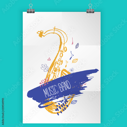 Grunge freehand Jazz Music poster. Hand drawn illustration with brush strokes for festival placard and flyer, concert, event