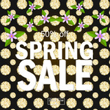 bright spring sale background banner with flowers . Vector Illustration