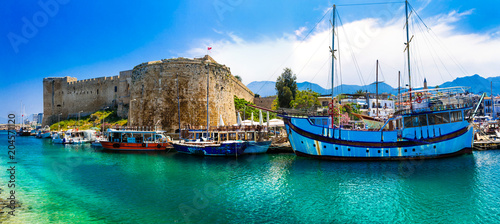 Fotobehang Freesurf Landmarks of Cyprus - Kyrenia town , medieval fortress in northen turkish part