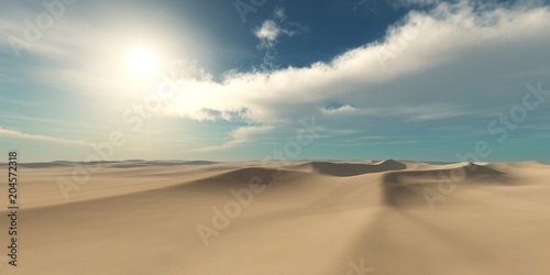 Fototapeta desert at sunset, sand and sun, sandy desert under the sky,