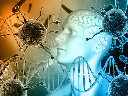3D medical background with male head, brain with virus cells and DNA strands