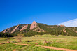 View of Flatirons Mountains seen from Chautauqua Open Space Park in Boulder Colorado