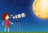 A Boy Observing the Moon
