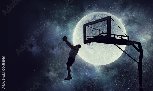 Plexiglas Basketbal It is game time . Mixed media