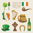 Ireland vector illustration with landmarks, irish castle, green fields. - 204599576
