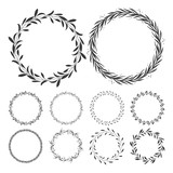 vector floral wreaths, hand drawn wreath clip art, round frame with leaves, decorative design elements, illustration - 204599915