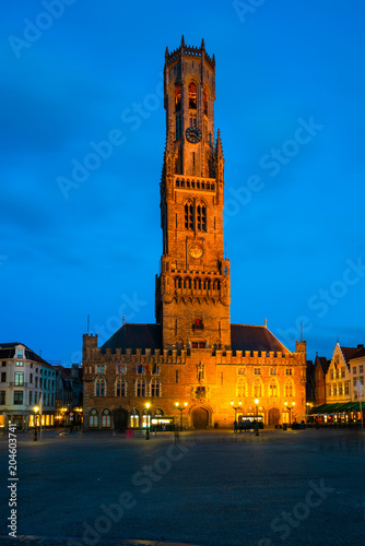 Fotobehang Brugge The Markt of Bruges with the view of 12th-century belfry, Belgium at dusk